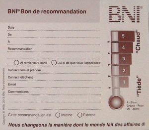 Bon de recommandation BNI